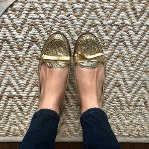 Kate Spade Gold Glitter Loafers with Bow Detail
